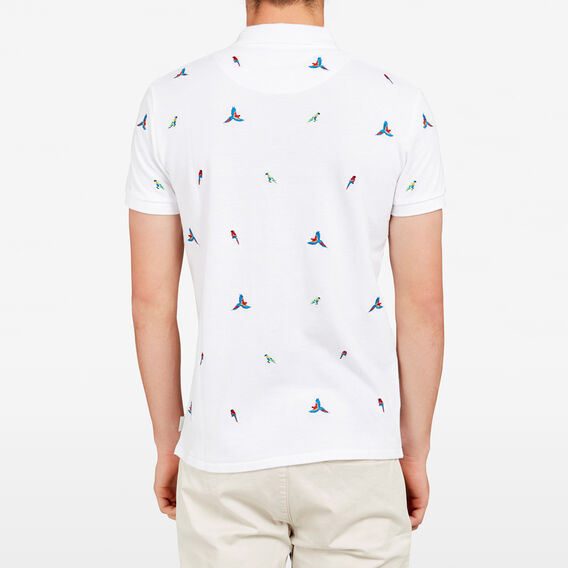PARROT EMBROIDERED POLO  WHITE  hi-res