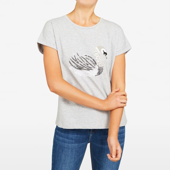 MAGIC SWAN EMBELLISHED SWEAT  GREY MARLE MULTI  hi-res