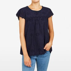 SCALLOP LACE BLOUSE  NOCTURNAL  hi-res