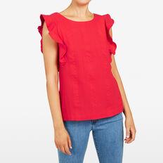 FRILL SLEEVE SHIRT  STRAWBERRY  hi-res