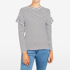 STRIPE FRILL SHOULDER TEE  SUMMER WHITE/BLACK  hi-res