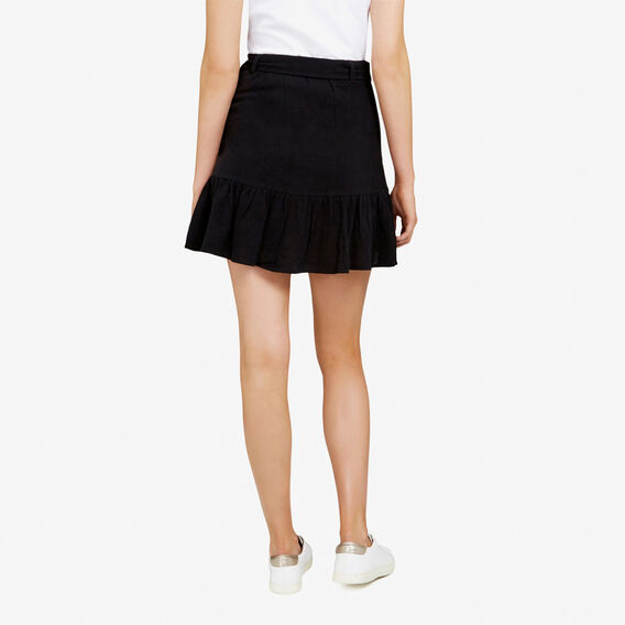RUFFLE WRAP SKIRT  BLACK  hi-res