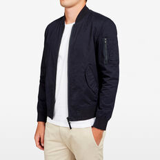 COTTON AVIATOR BOMBER JACKET  MARINE BLUE  hi-res
