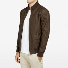SAFARI LEATHER LOOK BOMBER JACKET  CHOCOLATE  hi-res
