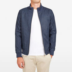 MARINE LEATHER LOOK BOMBER JACKET  MARINE BLUE  hi-res