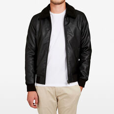 LEATHER LOOK SHERPA JACKET  BLACK  hi-res
