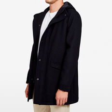 HOODED WOOL COAT  MARINE BLUE  hi-res