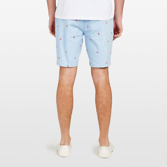 FLAMINGO LOUNGE EMBROIDED SHORT  SKY BLUE  hi-res
