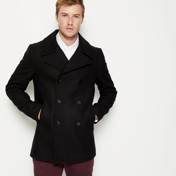 ESSENTIAL WOOL PEACOAT  BLACK  hi-res