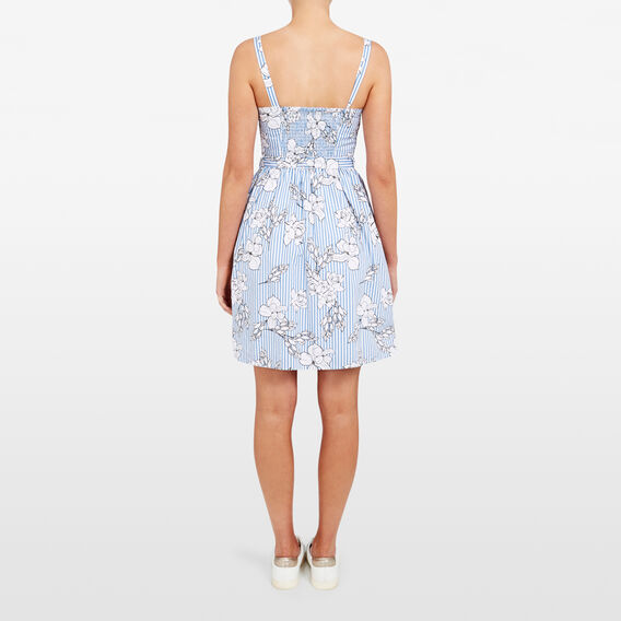 STRIPE FLORAL DRESS  SUMMER WH/CORNFLOWER  hi-res