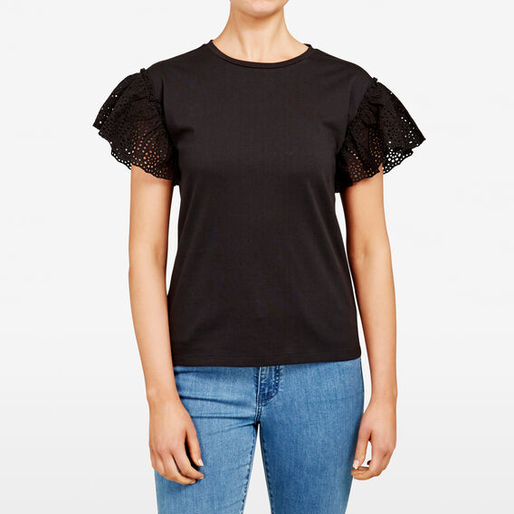 LACE SLEEVE TEE  BLACK  hi-res