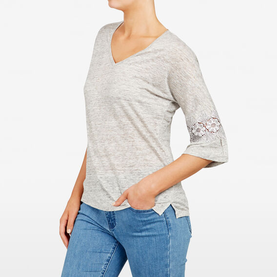 FLUTE SLEEVE LACE INSERT TEE  GREY MARLE  hi-res