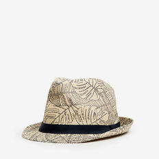 PALM PRINT TRILBY  STRAW  hi-res