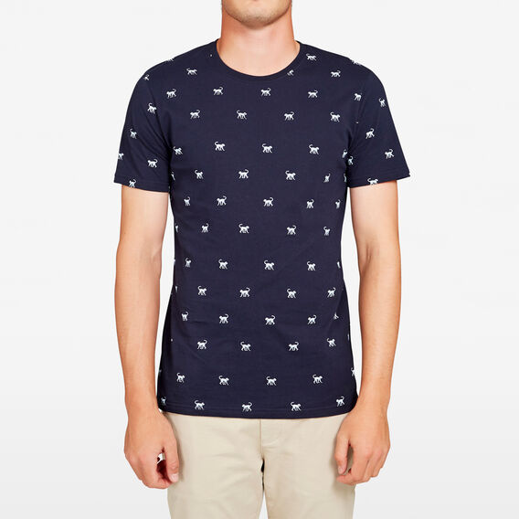 MONKEY ALL OVER T-SHIRT  MARINE BLUE/SKY BLUE  hi-res