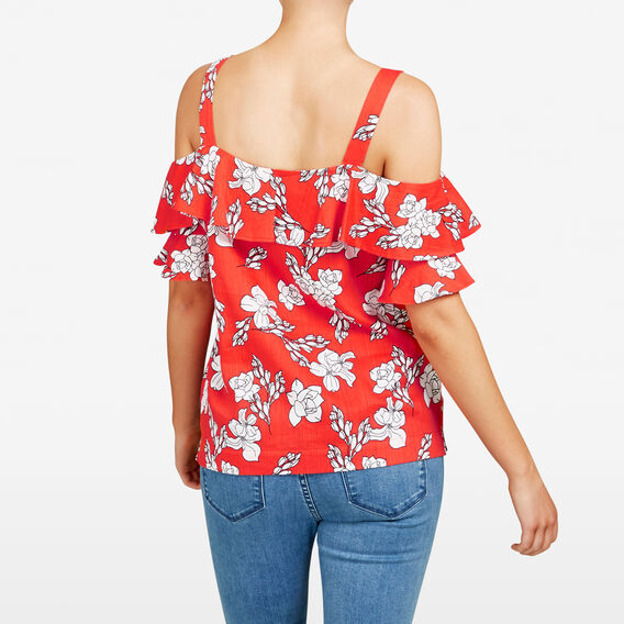 FLORAL COLD SHOULDER SHIRT  RED/SUMMER WHITE  hi-res