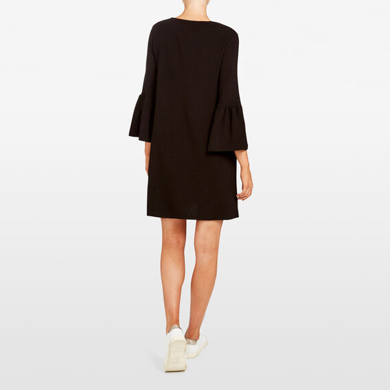 BELL SLEEVE RIB DRESS  BLACK  hi-res