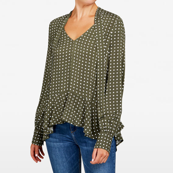 AUTUMN SPOT BLOUSE  KHAKI/OATMEAL  hi-res