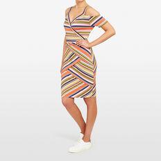 STRIPE COLD SHOULDER DRESS  MULTI  hi-res