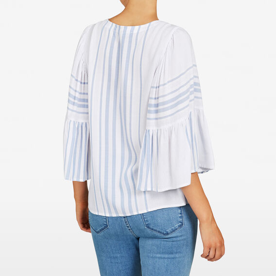 STRIPE BABYDOLL BLOUSE  SUMMER WHITE/LIGHT B  hi-res