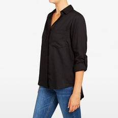AUTUMN BUTTON THROUGH SHIRT  BLACK  hi-res
