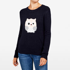 QUIRKY OWL KNIT  NOCTURNAL MULTI  hi-res
