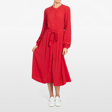 MIDI SHIRT DRESS  RED  hi-res