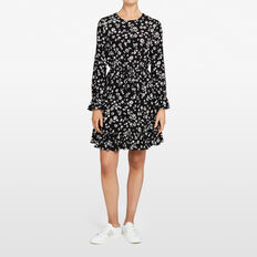 DAISY PRINTED DRESS  BLACK/SUMMER WHITE  hi-res