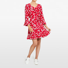 DAISY WRAP DRESS  RED/MULTI  hi-res