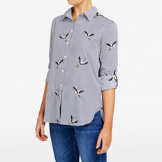 EMBROIDERED BIRD STRIPE SHIRT  MULTI  hi-res