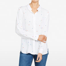 STARPRINT BUTTON THROUGH SHIRT  SUMMER WHITE/MULTI  hi-res