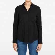 SUMMER BUTTON THROUGH SHIRT  BLACK  hi-res