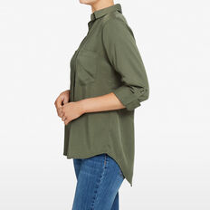 SUMMER BUTTON THROUGH SHIRT  KHAKI  hi-res
