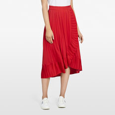 MIDI PLEATED RUFFLE SKIRT  RED  hi-res