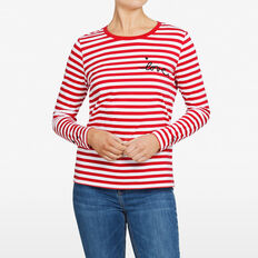 STRIPE LOVE LONGSLEEVE TEE  SUMMER WHITE/RED  hi-res