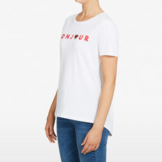 BONJOUR PRINT TEE  SUMMER WHITE/RED  hi-res