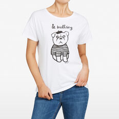 LE BULLDOG PRINT TEE  SUMMER WHITE/BLACK  hi-res