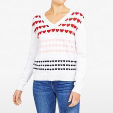 INTARSIA MULTI HEART KNIT  SUMMER WHITE/MULTI  hi-res