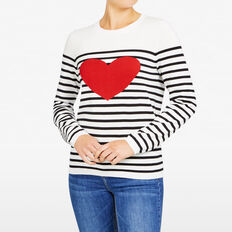 STRIPE HEART KNIT  SUMMERWHITE/BLCK/RED  hi-res