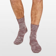 CHUNKY TWISTED YARN 1PK SOCKS  BURGUNDY  hi-res