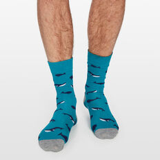WHALE 1PK SOCKS  TEAL  hi-res