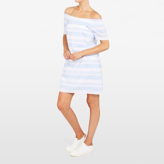 STRIPE OFF SHOULDER DRESS  SUMMER WHITE/LIGHT B  hi-res