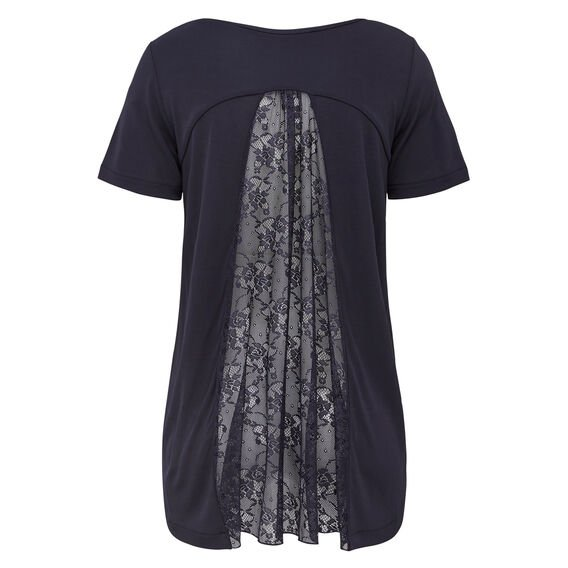 PLEAT PIA SS TEE  UTILITY BLUE  hi-res