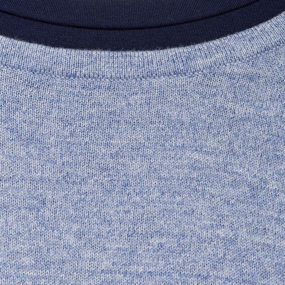 DOUBLE LAYER CREW NECK KNIT  DUST BLUE MELANGE  hi-res