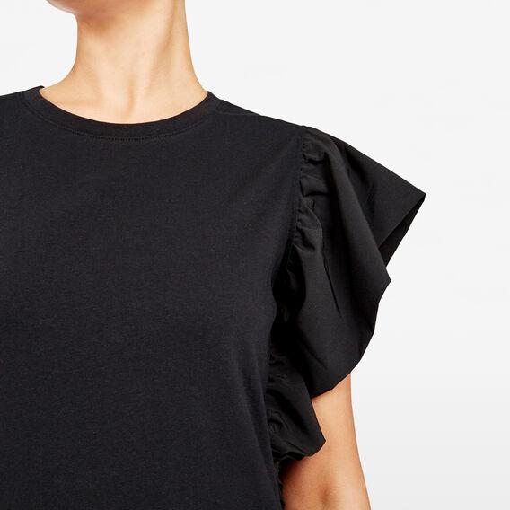 FLUTTER SLEEVE JERSEY DRESS  BLACK  hi-res