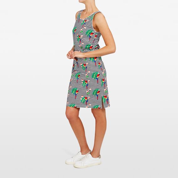 PARROT STRIPE JERSEY DRESS  SUMMER WHITE/MULTI  hi-res