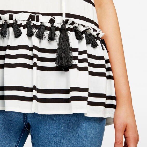 STRIPE PEPLUM SHIRT  SUMMER WHITE/BLACK  hi-res