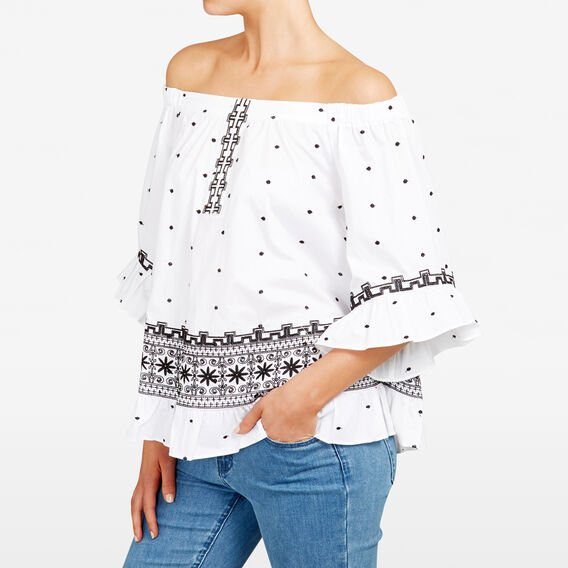 AZTEC EMBROIDERED BLOUSE  SUMMER WHITE/MULTI  hi-res