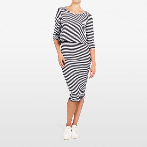STRIPE DOUBLE LAYER DRESS  SUMMER WHITE/NOCTURN  hi-res