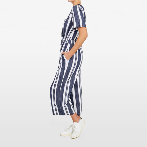 STRIPE DRAWCORD WAIST JUMPSUIT  SUMMER WHITE/NOCTURN  hi-res