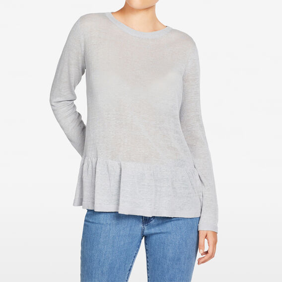 LINEN SLOUCHY PEPLUM KNIT  LIGHT GREY  hi-res